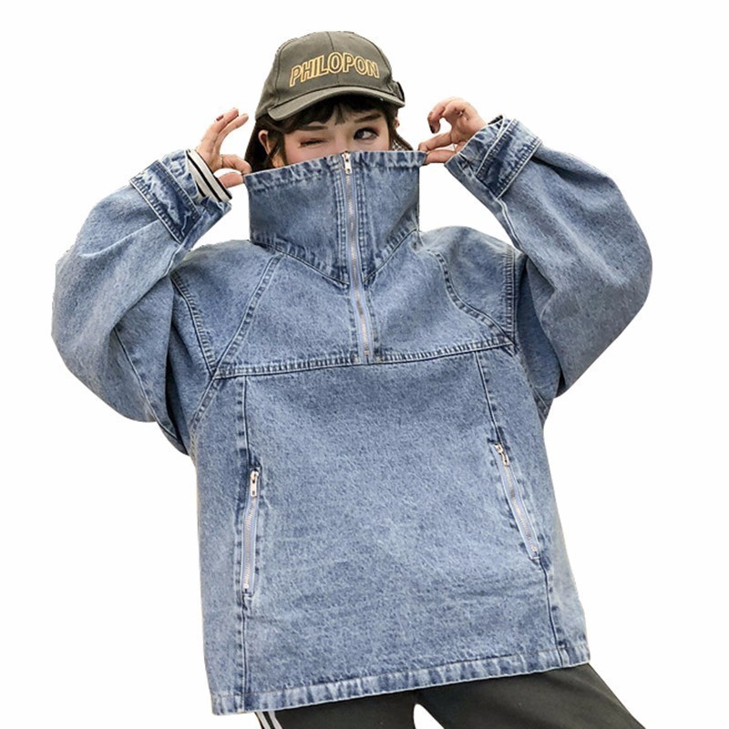 High Collar Pullover Denim Basic Jacket Women Bomber Jeans Coat 2018 Autumn New Letter Harajuku Zippers Chaqueta Mujer PJ305
