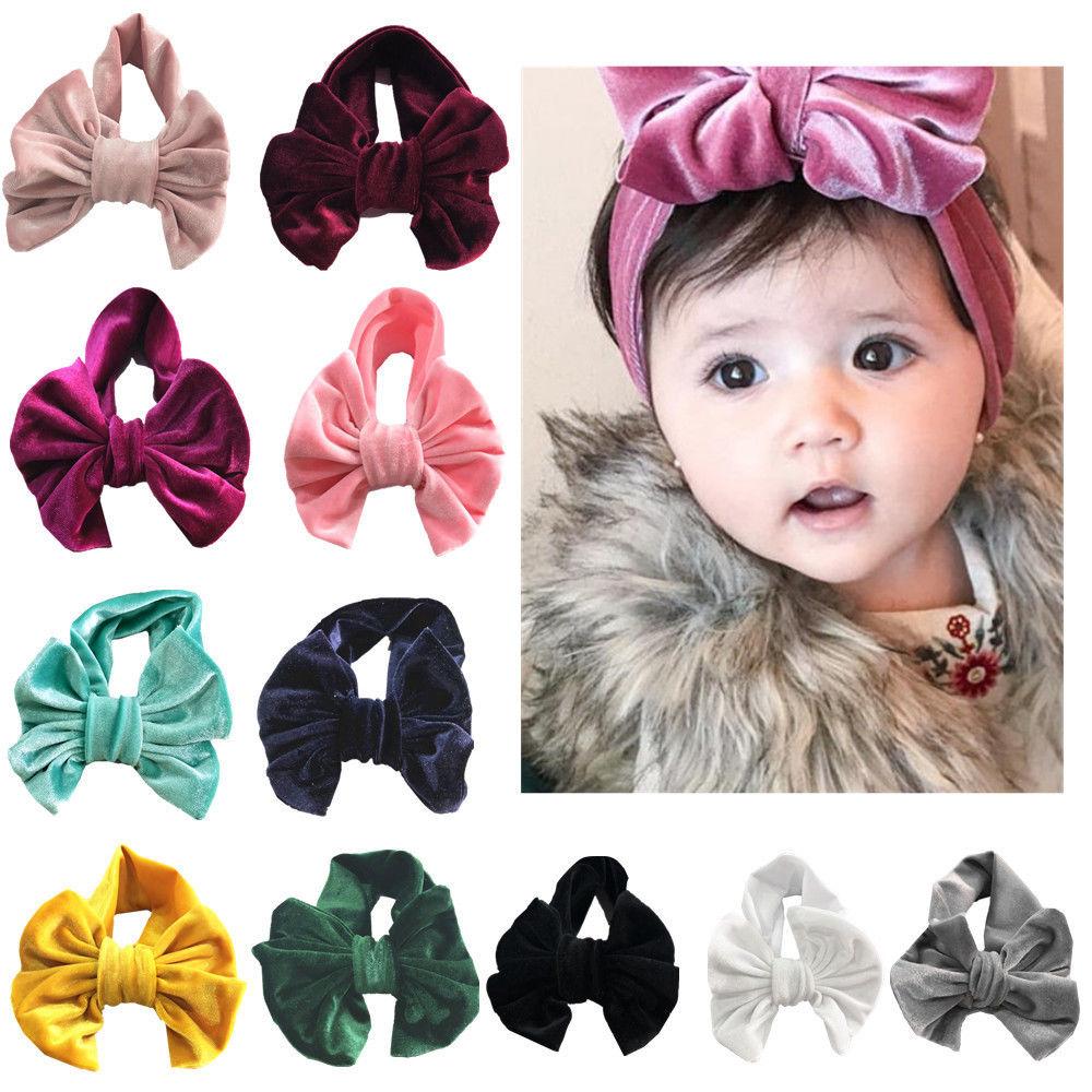 Toddle Kids Baby Girl Gold Velvet Headband Fashion Solid Cloth Bow Turban Knot Head Wrap Hairband Stretch Girls Headbands 3-12M