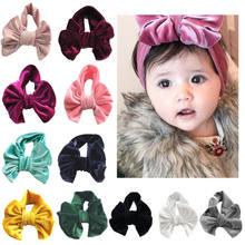 450e68ca53786 Toddle Kids Baby Girl Gold Velvet Headband Fashion Solid Cloth Bow Turban  Knot Head Wrap Hairband Stretch Girls Headbands 3-12M