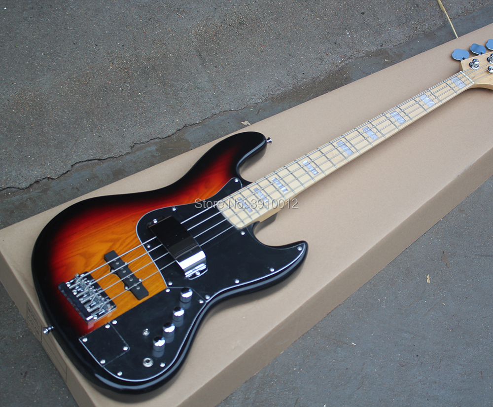 Factory Tobacco Sunburst 4 Strings Electric Bass Guitar with Active Circuit,Black Pickgaurd,Maple Fretboard,Offer Customized