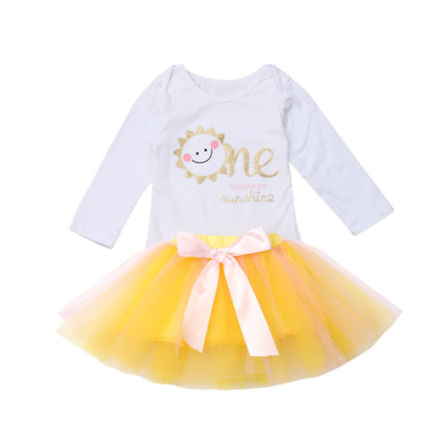 ce4ff017ed55 Baby Girls Party Romper Tutu Skirt 2pcs Cotton Outfits Infant Baby Girl  Clothes Sets One Year Birthday 0 24M-in Clothing Sets from Mother   Kids on  ...