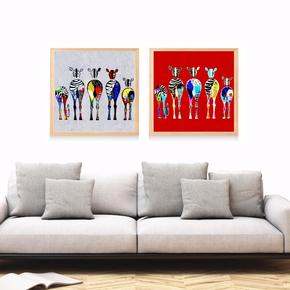 Colorful Zebra Family Artwork Canvas Art Print Painting Poster Wall Pictures For Living Room Home Decorative Decor No Frame