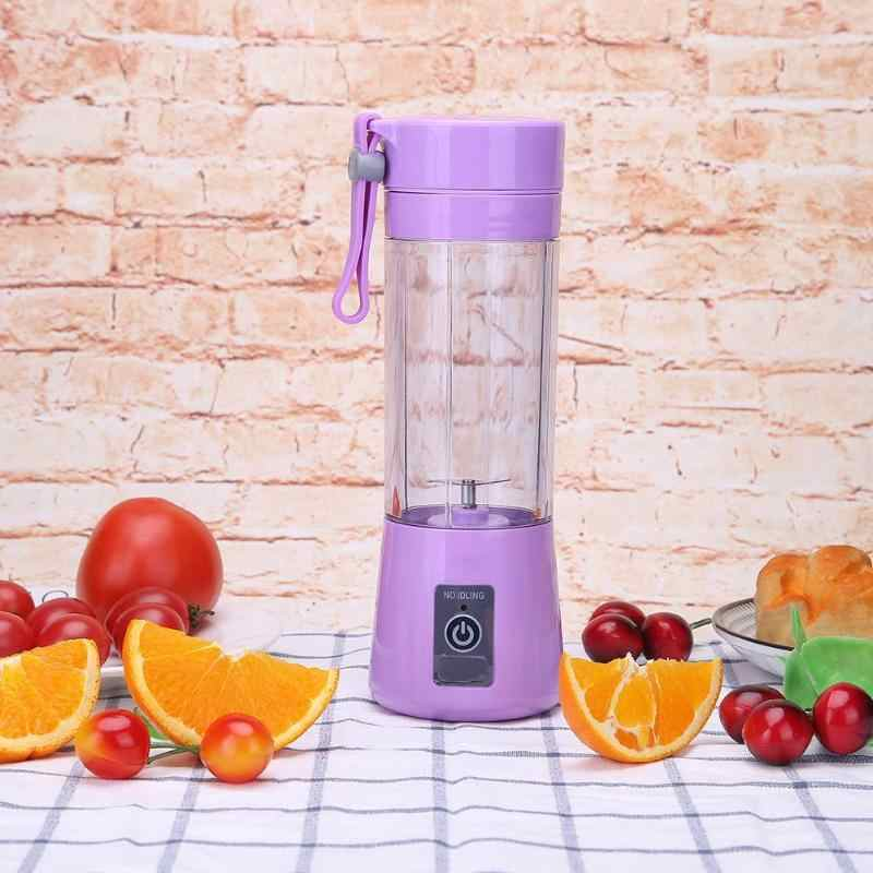 380 ml Portátil Mini USB Extrator Juicer Espremedores de Frutas Liquidificador Misturador do Agregado Familiar de Pequeno Porte Com 2000 mAh Tesouro Carregamento Externo