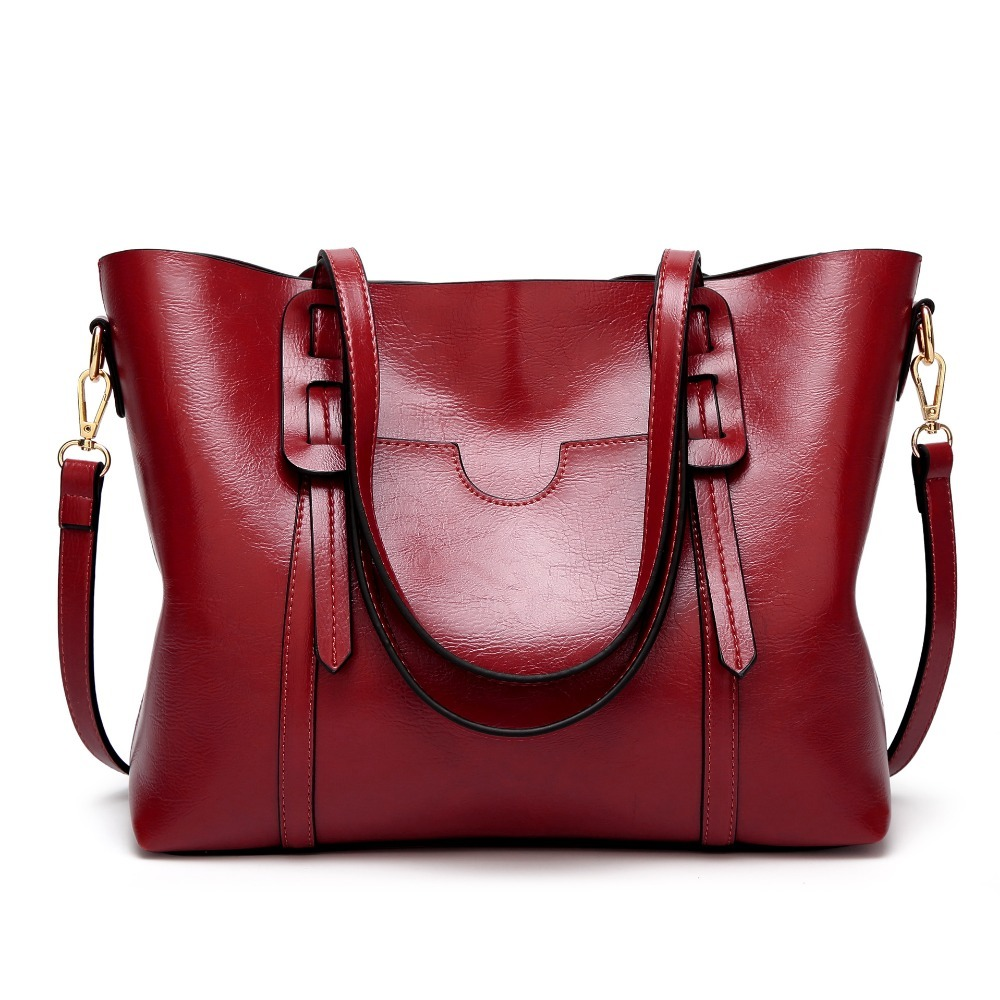 Fashion Oil Wax 100% Genuine Leather Women's Messenger Crossbody Bag Large Tote Women Leather Handbags Female Shoulder Bag C834