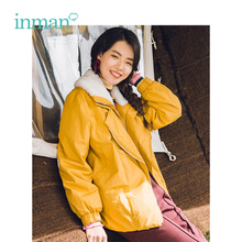 INMAN Winter New Arrival Female Lapel Fur Collar Warm Windproof Korean Teenage Style Short Section Woman Cotton Coat