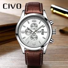 CIVO Reloj Hombre Genuine Leather Mens Calendar Analogue Watch Waterproof Quartz