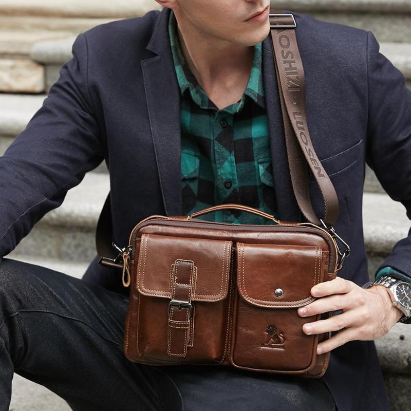 Image 4 - Men Business Briefcase Vintage Genuine Leather Laptop Messenger  Bag Cowhide Big Capacity Tote Office Handbag Men BriefcaseBriefcases