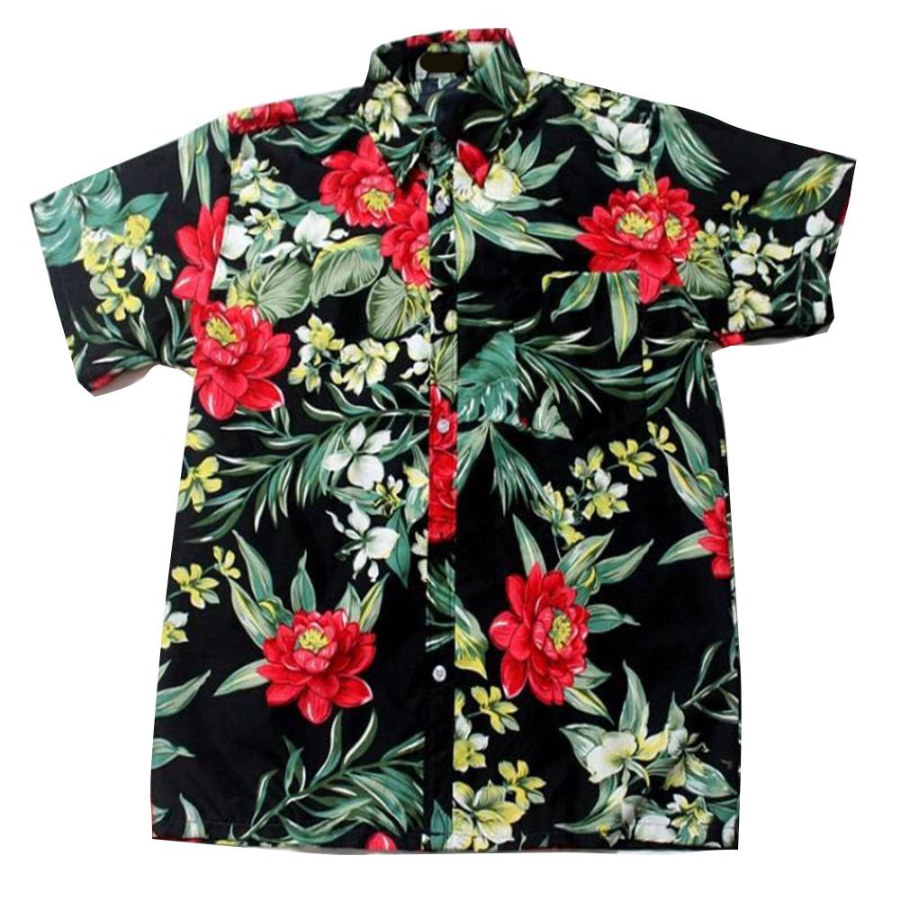 MISSKY Men Hawaii Shirt Summer Beach Leisure Floral Tropical Seaside Hawaiian Shirts Casual Camisas Short Sleeve Tops