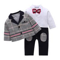 Infant Baby Clothes Set Children Boys Gentleman Romper With Bow Tie Plaid Suit Coat Sets Kids Clothing