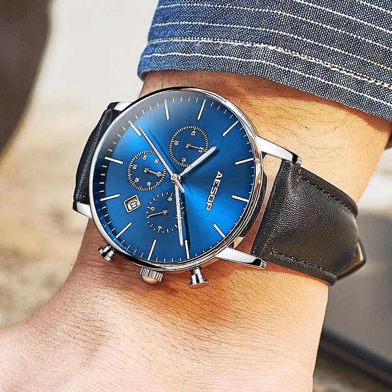 イソップ薄型ブルー腕時計メンズスポーツクォーツ腕時計レザーバンド男性時計腕時計防水レロジオ Masculino Hodinky 1005 グラム