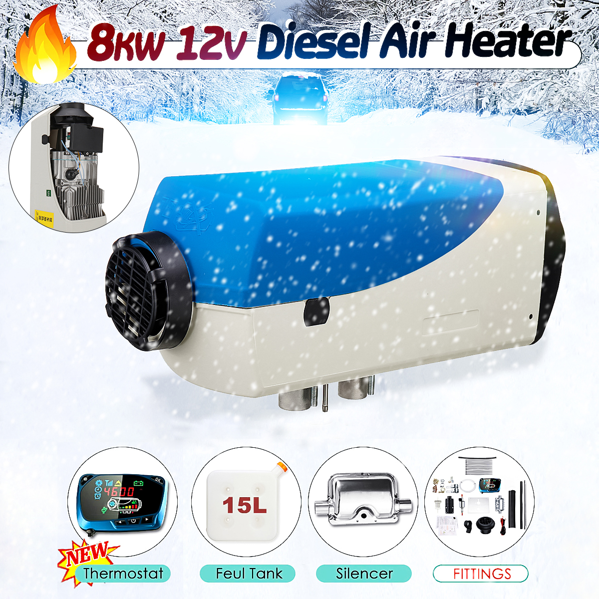 12V 8000W Car Parking Diese l Air Heater Kit with Muffler <font><b>15L</b></font> <font><b>Tank</b></font> Diese l Heater LCD Dynamic Thermostat Remote Control Red/Blue image