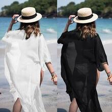 Hirigin Beach Dress 2019 Summer Pure Color Long Sleeve Women Bikini Cover Up Beach Long Dress Kaftan Beachwear Swimwear