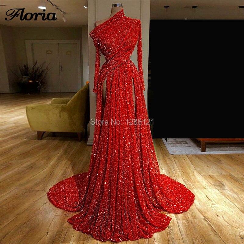 Dubai Design Sexy rouge longues robes de soirée Robe de soirée 2019 arabe paillettes formelle Robe de bal turc paillettes main robes de soirée