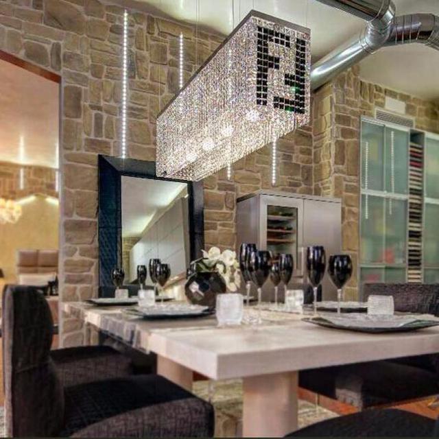black F Rectangular crystal chandelier lamp for dining room lustre de cristal round ceiling fixture light Bar Kitchen lighting