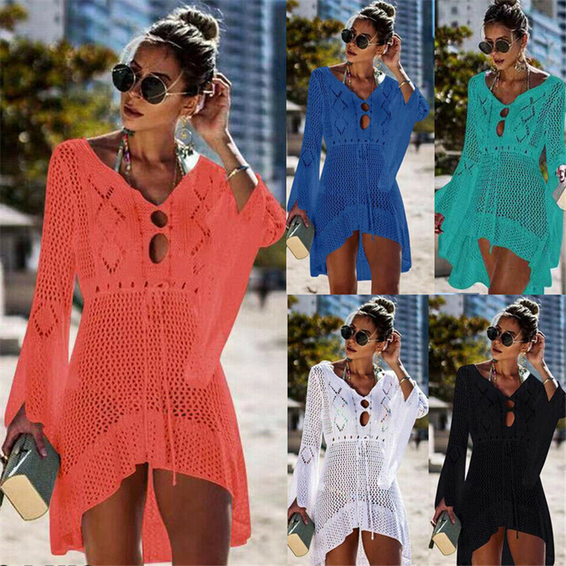 Summer Casual Womens Lace Crochet Bikini Cover Up Swimwear Summer Lady Beach Dress Flare Sleeve V-Neck Sundress Hollow Out Dress
