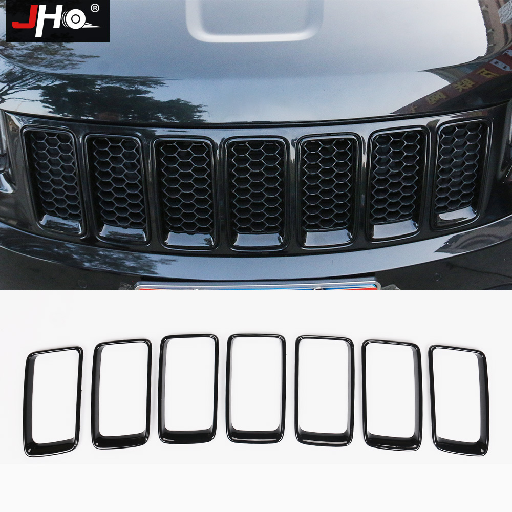 JHO ABS Front Grill Grille Insert Mesh Vent Bezel Ring Outlet Exterior Styling Trim For Jeep Grand Cherokee 2014 2015 2016