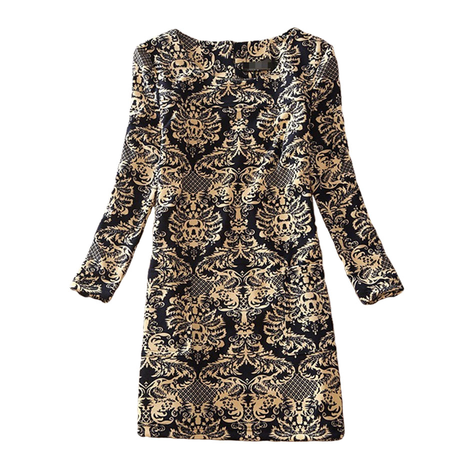 Plus Size Winter Autumn Casual Dress Women Long Sleeve Retro Floral Print Dress for Women Clothes Vestidos Party Vintage Dress