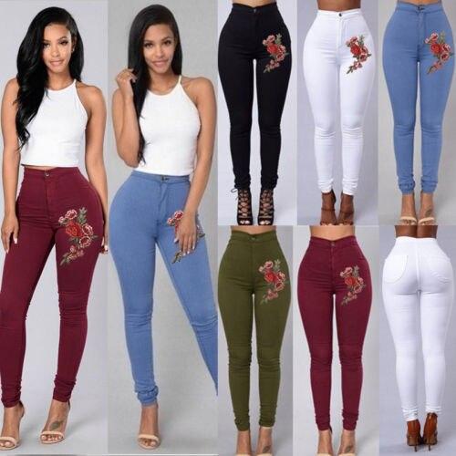 Women Denim Skinny Leggings Pants High Waist Stretch   Jeans   Rose Pencil Trousers