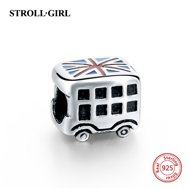 925 Sterling Silver Beads Enamel UK flag Mobil Pandora Charms Bead Fit Pandora Asli gelang & Bangle Otentik Perhiasan hadiah