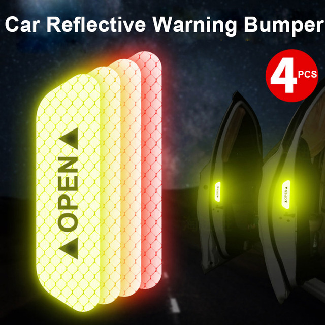 4pcs Car Door Sticker Decal Warning Tape Car Reflective Stickers Reflective Strips Car-styling 5 Colors Safety Mark Car Stickers