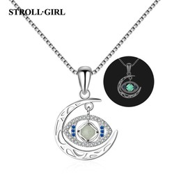 Strollgirl 100% Authentic 925 Sterling Silver moon dangle the glowing eye Pendant Necklaces for Women Collares Fine Jewelry gift
