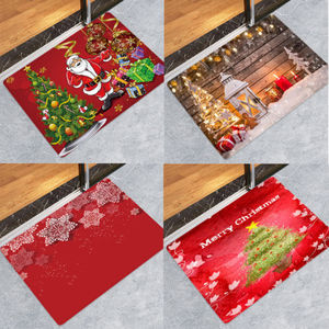 Image 5 - Hot Sale Christmas Floor Mat Santa Claus Flannel Carpet Rug Non Slip Xmas Decor 5 Sizes