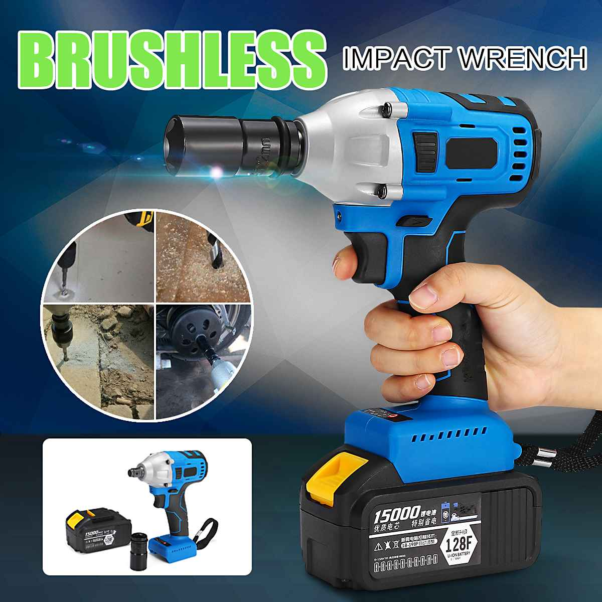 128/188/208F Brushless Cordless Electric  Impact Wrench 1/2 Torque Universal Wrench Rechargeable Battery Power Driver Tools128/188/208F Brushless Cordless Electric  Impact Wrench 1/2 Torque Universal Wrench Rechargeable Battery Power Driver Tools