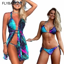 3Pcs Women Bikini Set Sexy Ruffle Printed Swimwear+Bikinis Beach Cover Up Cardigan Bathing Suit+Swimsuit Maillot De Bain Femme nidalee sexy women swimwear high waist bikini plus size 3xl swimsuit beach bathing suit push up bikini set maillot de bain femme