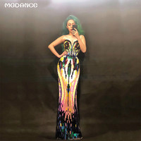 New Sparkly Colorful Sequins Dress Stretch Slim Evening Wear Female Singer Outfit Birthday Long Dress Party Stage Sexy Dresses