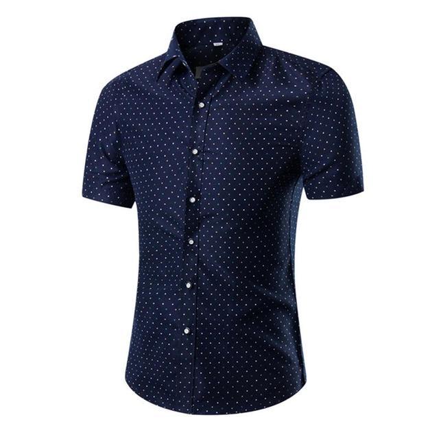 última selección promoción niño Ropa de marca para hombre manga corta casual camisas estampadas camisa  verano nuevo Delgado cuello vuelto cárdigan 24 35 y