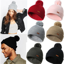 82736137d66 New Fashion Women Beanie Hats Warm Winter Ladies Knitted Wooly Oversized  Slouch Hat Solid Pompom Bobble