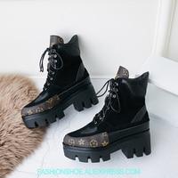 Женские ботинки на высокой платформе со шнуровкой зимние ботинки из замши в стиле пэчворк модные брендовые дизайнерские ботинки martin с прин