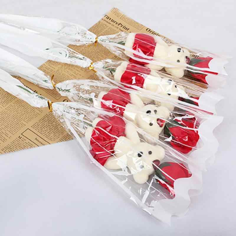 1PC หมี Rose สบู่ดอกไม้ของขวัญวันวาเลนไทน์ช่อดอกไม้ตุ๊กตาหมีตุ๊กตาของเล่นสำหรับแฟนผู้หญิงงานแต่งงานตกแต่ง