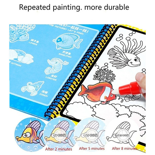 Montessori Coloring Book Doodle & Magic Pen Painting Drawing Board For Kids Toys Magic Water Drawing Book Birthday Gift 3