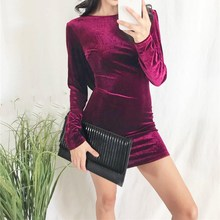Fashion Velvet Women Dress Backless Long Sleeve Party Evening Bodycon Dress