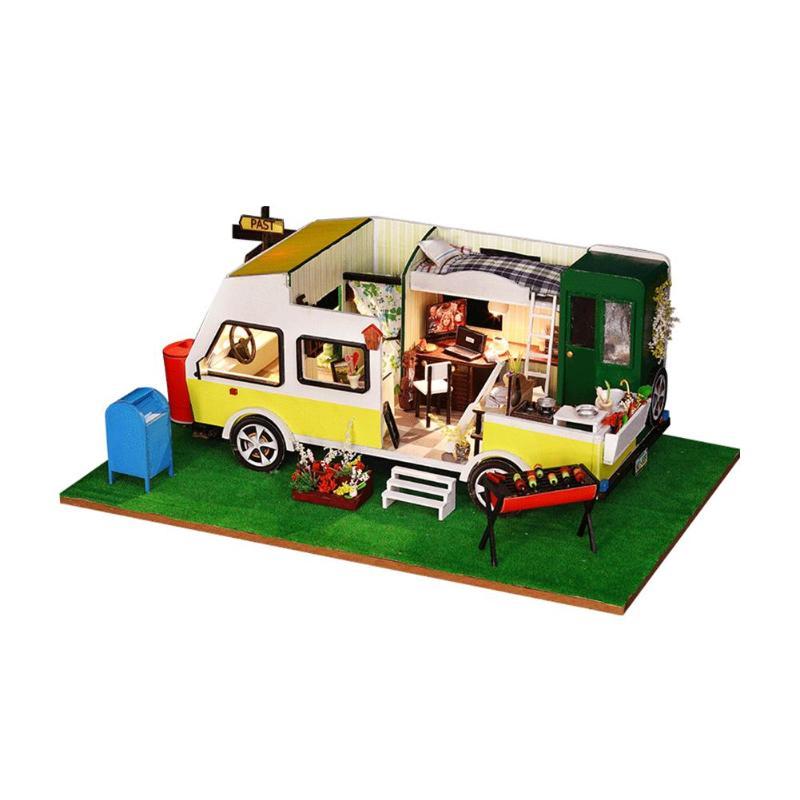 Mignon maison de poupée créative voiture en bois maison de poupée Miniature 3D bricolage poignée maison de poupée avec meubles jouet pour enfants cadeaux