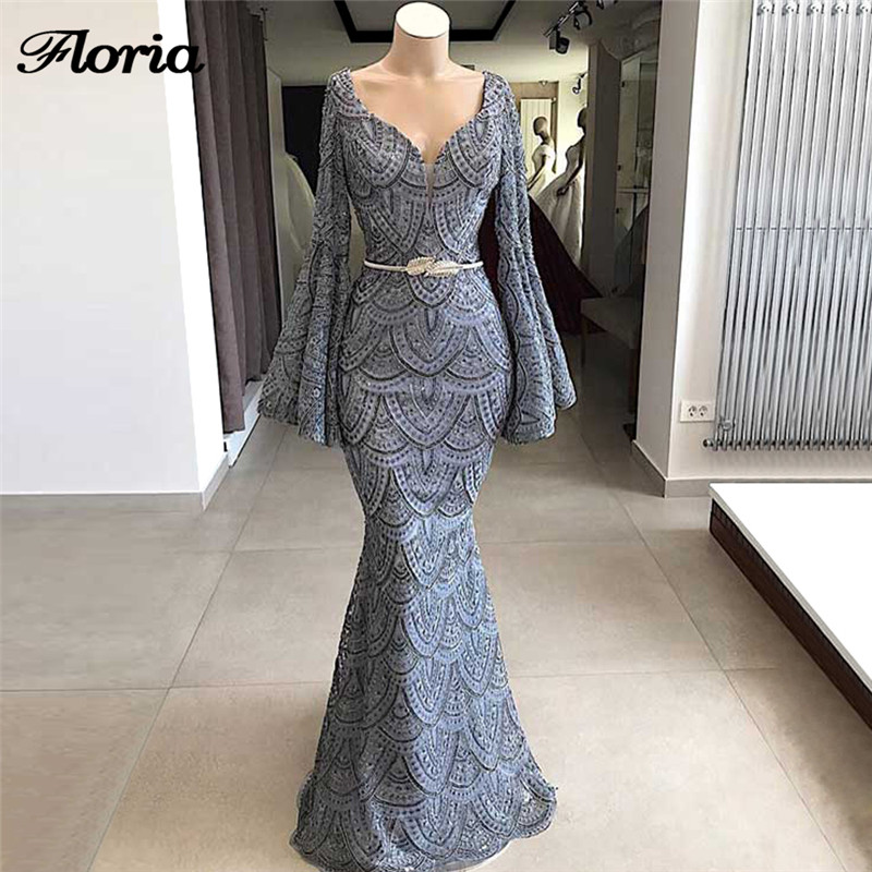 2019 Robe de siree Elegant African V Neck   Evening     Dresses   Turkish Arabic Dubai Long Formal Prom   Dress   Abendkleider Party Gowns
