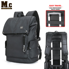 PISU new  backpack mens black fashion usb charging waterproof headphones Men fit for 15.6 Inch Laptop