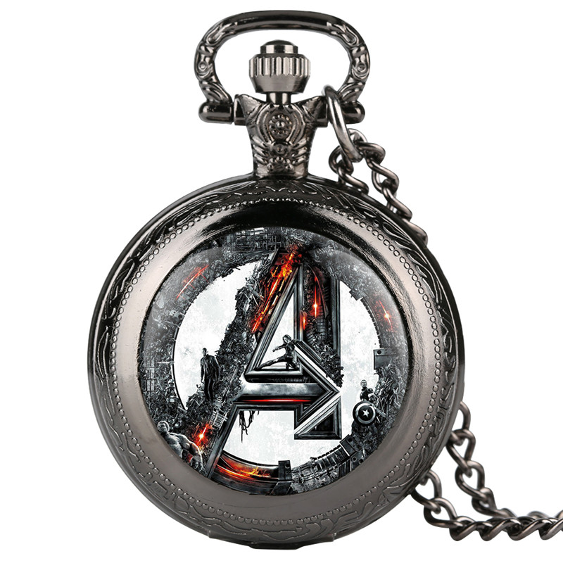 Fashion Mens Pocket Watch Marvel Comics Supermen Pattern Pocket Watches Unique Necklace Chain Pendant Clock Gift Reloj Mujer