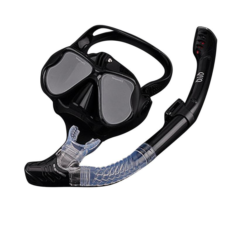 Panoramic Wide View Mask Dry Snorkel Set Anti-Fog Scuba Diving Mask for GoPro Mount and Earplug