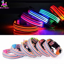 Stripe Nylon LED Dog Collar Light Night Safety Glowing Electronic Leash Puppy Kitten Anti-Lost Accessories