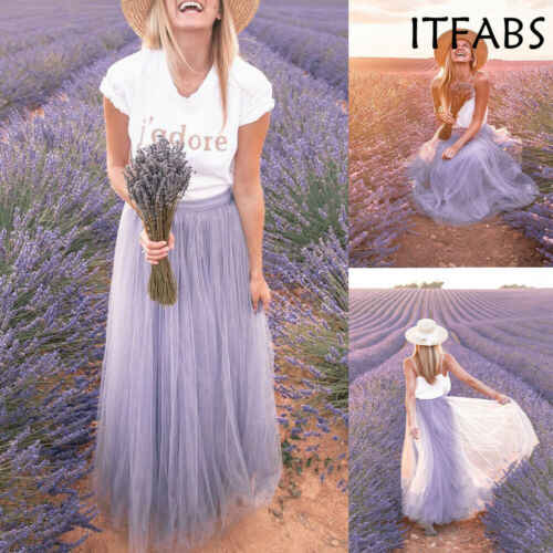 Maxi Long Tulle Mesh A-Line Fashion Skirts for Women Elastic High Waist Lolita Elegant Girls Juniors Prom Formal Party Skirt