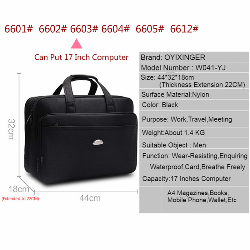 Image 4 - Large Capacity Business Men 17 Inches Briefcases Black Bags Men's Waterproof Computer Laptop Briefcase Male Travel Shoulder Bag-in Briefcases from Luggage & Bags