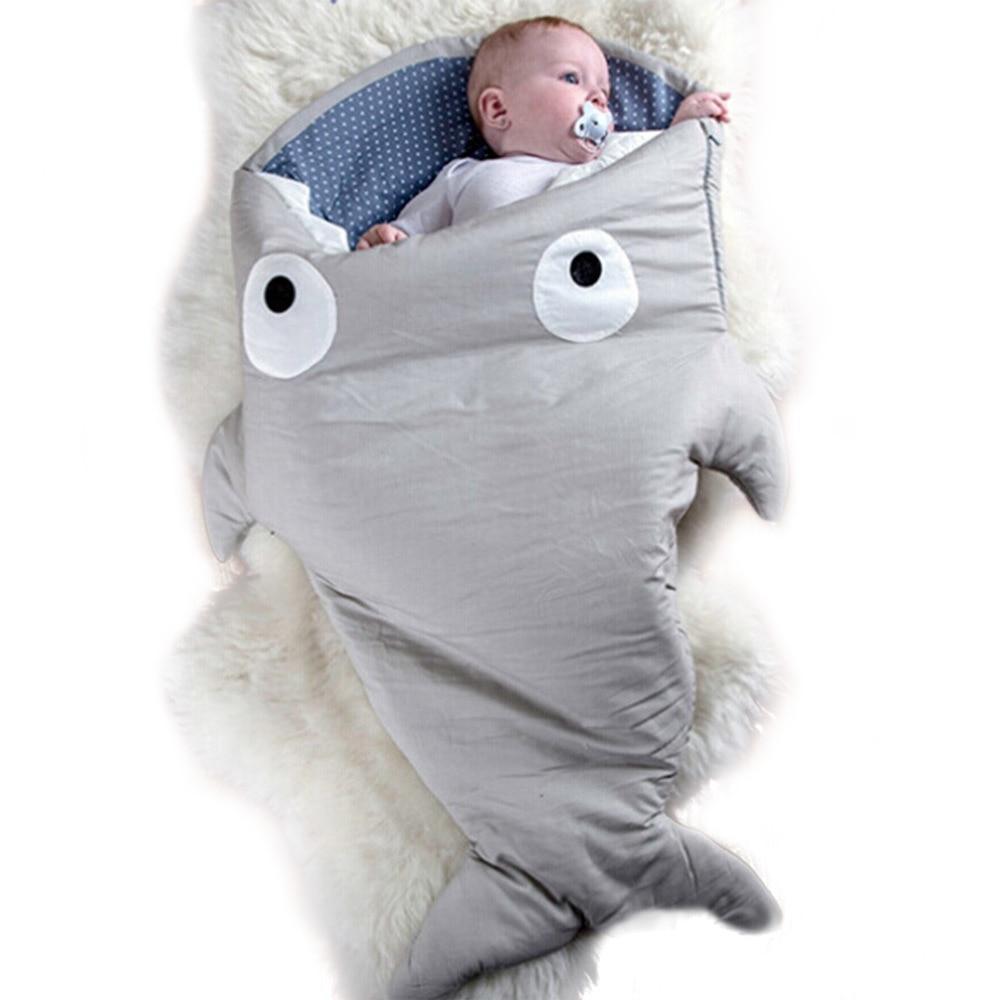 7 Colors Baby Sleeping Bag Cute Cartoon Shark Babies Sleep Bag Soft Thick Blanket Shark Babies Newborn Infant Kids Warm Swaddle