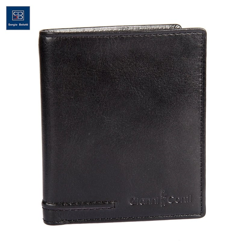 Coin Purse Gianni Conti 707105 black simline vintage genuine crazy horse cow leather men men s long hasp wallet wallets purse zipper coin pocket holder with chain