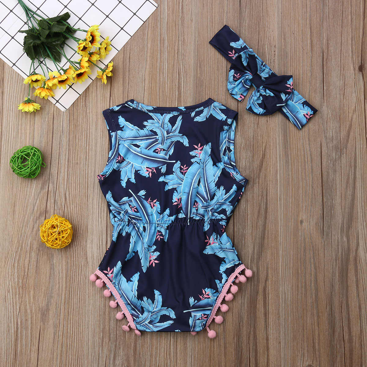Одежда для новорожденных девочек; летний слитный купальник с принтом листьев; Детский Повседневный Комбинезон