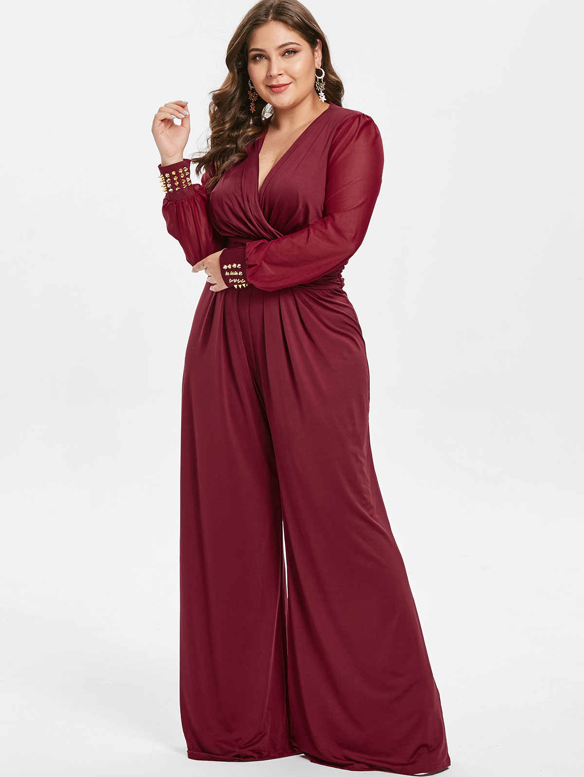Wipalo Plus Size High Waisted Long Sleeves Surplice Jumpsuit Spring Women V  Neck Color Block Wide 03997541cf12