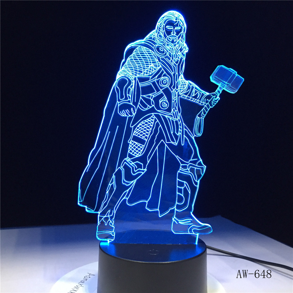 Led Night Lights Lights & Lighting Honey Marvel Thor Cool Super Hero 3d Led Night Light Desk Lamp Multicolor Rgb Bulb Home Decor Kids Gift Novelty Raytheon Toy Aw-648 Let Our Commodities Go To The World