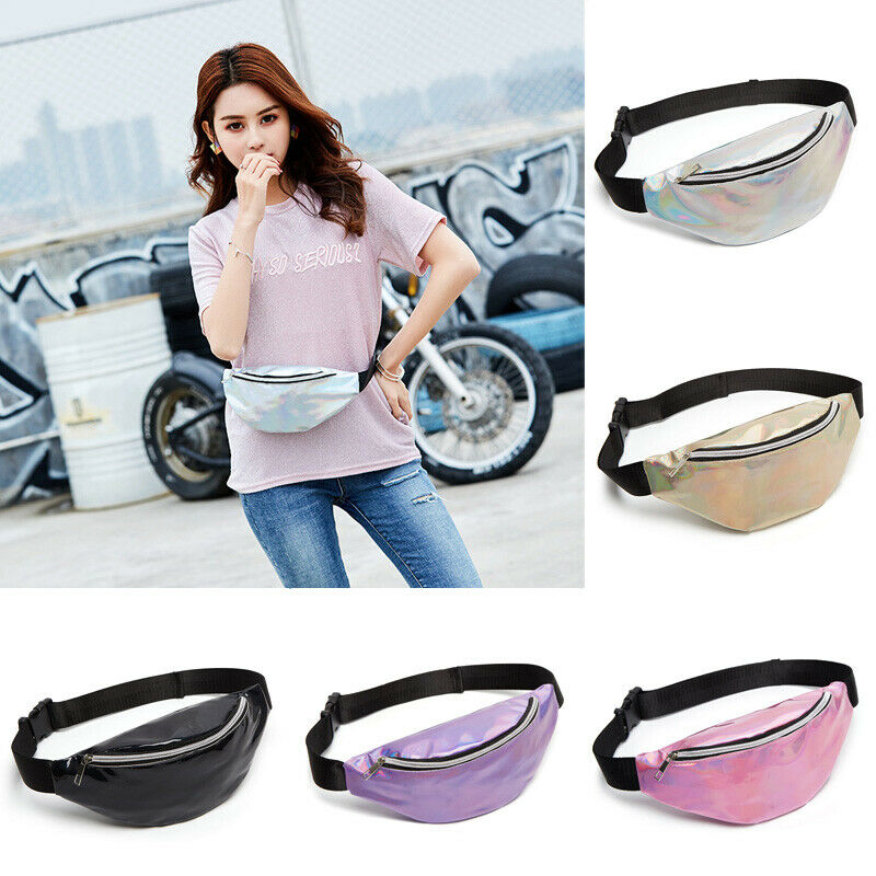 Multicolor Waist Bags Women Silver Fanny Pack Male Female Belt Bag Black Geometric Waist Packs Laser Chest Phone Pouch unisex(China)