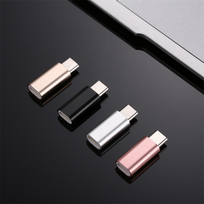 For IPhone 8 For Lightning Pin Female To Micro USB Aluminium Alloy Converter Charging Type-C Connector Adapter For Android Phone